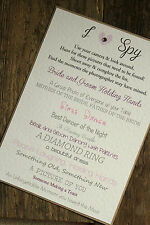 I Spy Wedding Poster Camera Sign Shabby Chic Vintage Style A5 or A6 Personalised