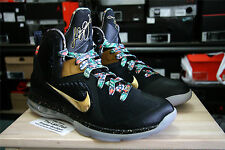 DS NIKE LEBRON IX WATCH THE THRONE SAMPLE SIZE 9 BLACK GOLD FLORAL PE GITD PROMO
