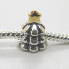 New 925 Sterling Silver Christmas Tree &14K gold Star Bead Charm for Xmas gifts