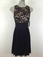 Eliza J NEW W Tag  Elegant Dress BLACK Lace over Nude Sateen a Must Have it!
