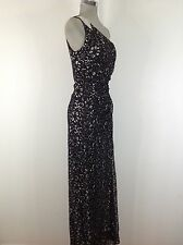 Calvin Klein NWT One shoulder Black and Metalic Silver Elegant Evening Gown