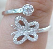 925 STERLING SILVER solitaire BEZEL cz & butterfly ADJUSTABLE ring size N P