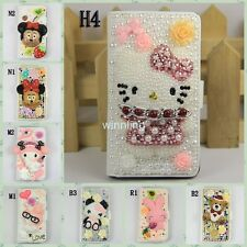 Bling Crystal Pearl Hello Kitty Minnie Leather Flip Case Cover SAMSUNG GALAXY