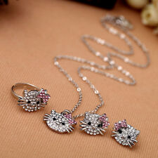 New Women Fashion Lovely Cat Pendant Crystal Charm Necklace Earrings Ring Gift