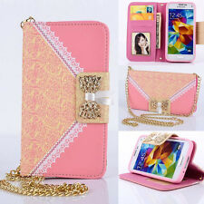 Lace Bow handbag PU Leather Wallet Purse Cover Case & chain for samsung pink