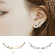 1 Pair Fashion Women Ear Hook Plated Crystal Rhinestone Stud Ear Clip Earrings