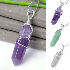 Attractive Women Men Natural Crystal Quartz Healing Point Stone Pendant Necklace