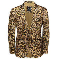 Mens Leopard Rosette Deep Gold Printed Italian Suit Jacket Fitted Blazer