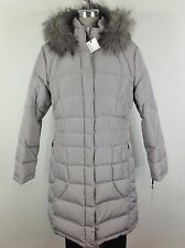 Calvin Klein NWT Women's SILVER Down Jacket w Removable hood Faux fur trimmed