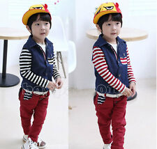 Kids child Boy leisure Shirts Tops+Trousers Pants two Pieces Outfits Sets Sz2-7Y