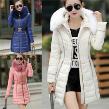 New Slim Warm Womens Winter Long Down Cotton Coat Belted fur collar Parka Jacket