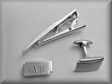 Engraved Two tone Stainless Steel Contemporary Cuff link and Tie clip set