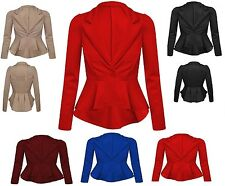 Womens Ladies Crop Frill Shift Slim Fit Fitted Blazer Jacket Coat UK 6-20-ScbJk