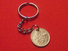 LUCKY SIXPENCE BIRTHDAY KEYRINGS ANY YEAR FREE P&P WEDDINGS CHRISTMAS