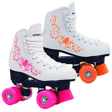 New Kingdom Vector Quad Roller Skates Disco Junior Senior Size White Pink Orange