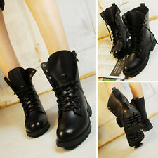 Women Non-Slip Mid Calf Military Martin Boots lace-up Ankle Army Flat Boots shoe
