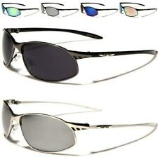 X-LOOP NEW MENS LADIES WOMENS BLACK MIRRORED WRAP SPORTS METAL UV400 SUNGLASSES