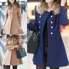Girl Slim Trench Warm Fur Collar Coat Double Breasted Jacket Parka Winter Tops