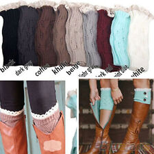 Women's New Crochet Knitted Lace Trim Toppers Cuffs Liner Leg Warmers Boot Socks