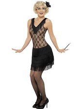 LADIES ALL THAT JAZZ BEIGE & BLACK 1920s 30s OUTFIT CHARLESTON DRESS COSTUME S-L
