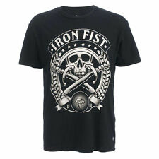 Mens Iron Fist Skull Society Black Graphic T Shirt Skate Rock Crew Neck Tee Shir