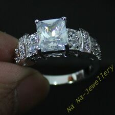 Classic Jewelry Mens Womens White Sapphire 10kt White Gold Filled Band Gem Ring