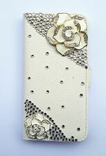 Bling Flower Wallet Card Holder PU Leather Flip Cover Case for Motorola