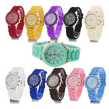 NEW STYLISH GENEVA JELLY SILICONE RUBBER STRAP WATCH WOMENS WOMANS MENS KIDS