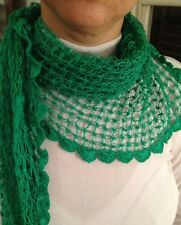 hand crocheted cotton triangular shawl scarf