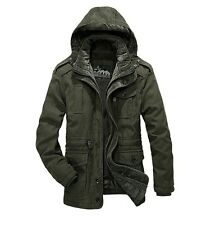 AFS JEEP Men's Jacket Coat Autumn Winter Cotton Thick Velvet Removable Cap