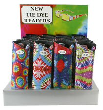 Plastic Color Reading Glasses with Tye Dye Design and Pouch