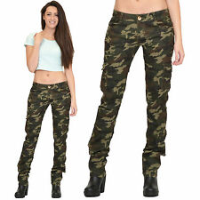 Womens Army Military Green Camouflage Slim Fit Combat Trousers Cargo Pants Jeans