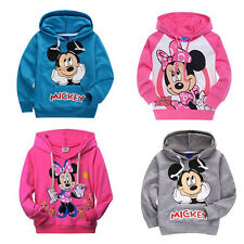 Kids Boys Girls Mickey Minnie Mouse Hoodies Sweatshirts Coat Cotton Tops 2-7Y