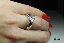 STUNNING 8MM ROUND CUT CZ CATHEDRAL SET STERLING ENGAGEMENT RING OR WEDDING RING