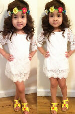 Baby Girls Princess Lace Round Neck Dress Kids Summer One-piece Dress Skirt