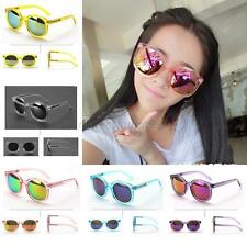 New Womens Jelly Round Sunglasses Mirrored Lens Eyewear Plastic Frame Glasses