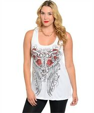 WOMANS PLUS SIZE TATTOO INSPIRED WHITE TANK TOP ROSES ANGEL WINGS 1X 2X 3X NWOT