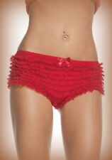 Red Frilly Ruffle Sexy Burlesque Briefs Panties Knickers (Various Sizes)