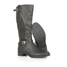 LADIES WOMENS LEATHER INSOLE FULL ZIP BUCKLE RIDING WINTER KNEE LENGTH BOOTS