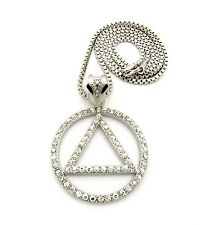 Sobriety Triangle Circle Pendant Charm Box Cuban Franco Chain Necklace Jewelry