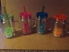20 fl. Oz. Double wall mason jar tumblers with 7 ice cubes BPA FREE