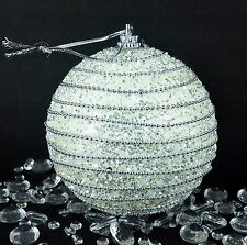 Xmas Christmas Decorations Baubles Tree Ornaments Silver White Glitter Sparkles