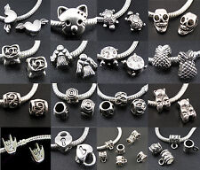 Wholesale Tibetan Silver Dangle Beads Charms Fit Snake Chain For DIY Bracelet