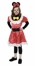 Childrens Girls Minnie Mouse Fancy Dress Costume Red Polka Dot Ears Bow Hair