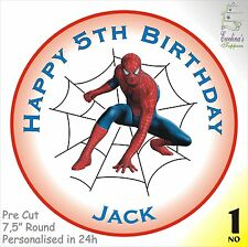 SPIDERMAN EDIBLE RICE PAPER/ ICING CAKE TOPPER, PRE CUT, PERSONALISED IN 24H
