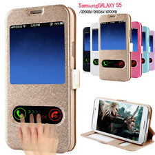 Ultra Slim Leather S-View Flip Case Cover Skin for Samsung Galaxy S5 G900 i9600