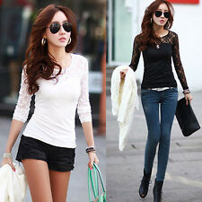 New & Cheap & Fashion Women's Lace Cotton Sexy Long Sleeve T-Shirt Tops Blouses