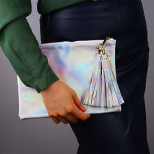 Holographic Metallic Silver Shine Leather Fringe Envelope Clutch Pouch Hologram