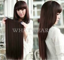 60cm Clip in Synthetic Human Hair Extensions Long Straight Curly Hair 5 Clip FKS