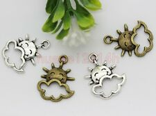 30pcs Antique Silver/Bronze Lovely smile sun Jewelry Charms Pendant 21x16mm